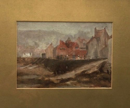 staithes group antique painting misty morning at staithes original oil painting