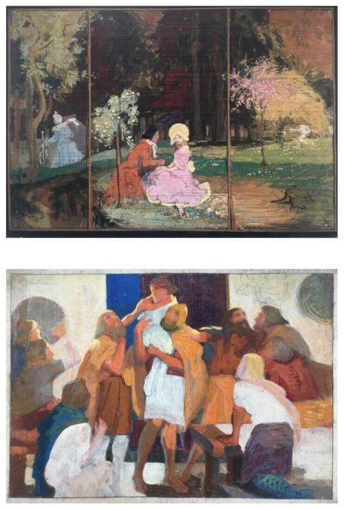 ralph leslie swinden original signed double sided watercolour paintings landscape portrait classical study verso