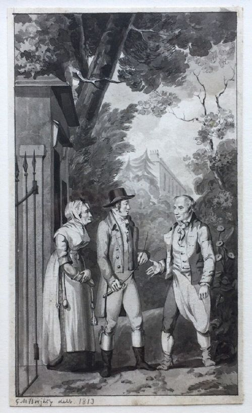 george m brighty british 17881888 original 1813 early 19th century english antique watercolour figures at gate possibly an illustration for a book