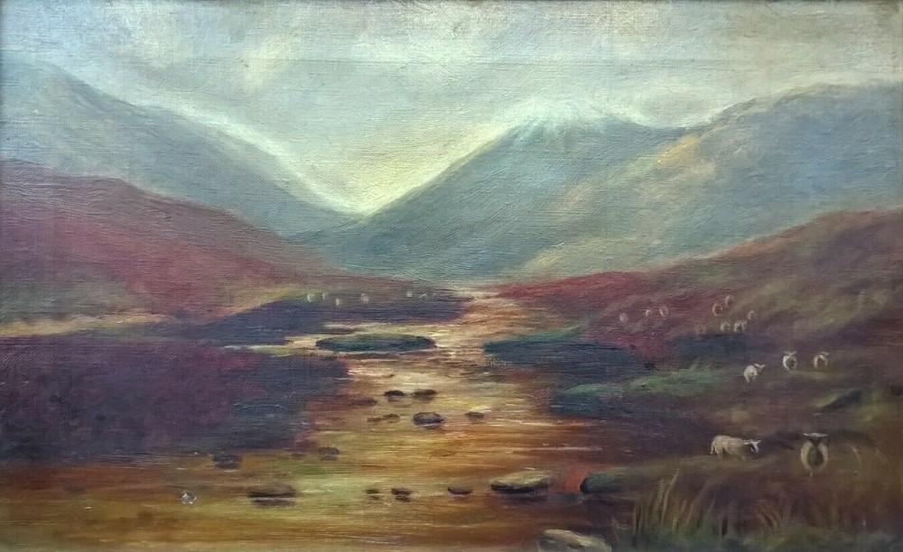 british school original 19th century antique oil painting on canvas sheep mountain moorland landscape