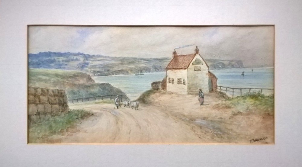 john francis branegan original antique english watercolour painting upgang whitby north yorkshire coast seascape