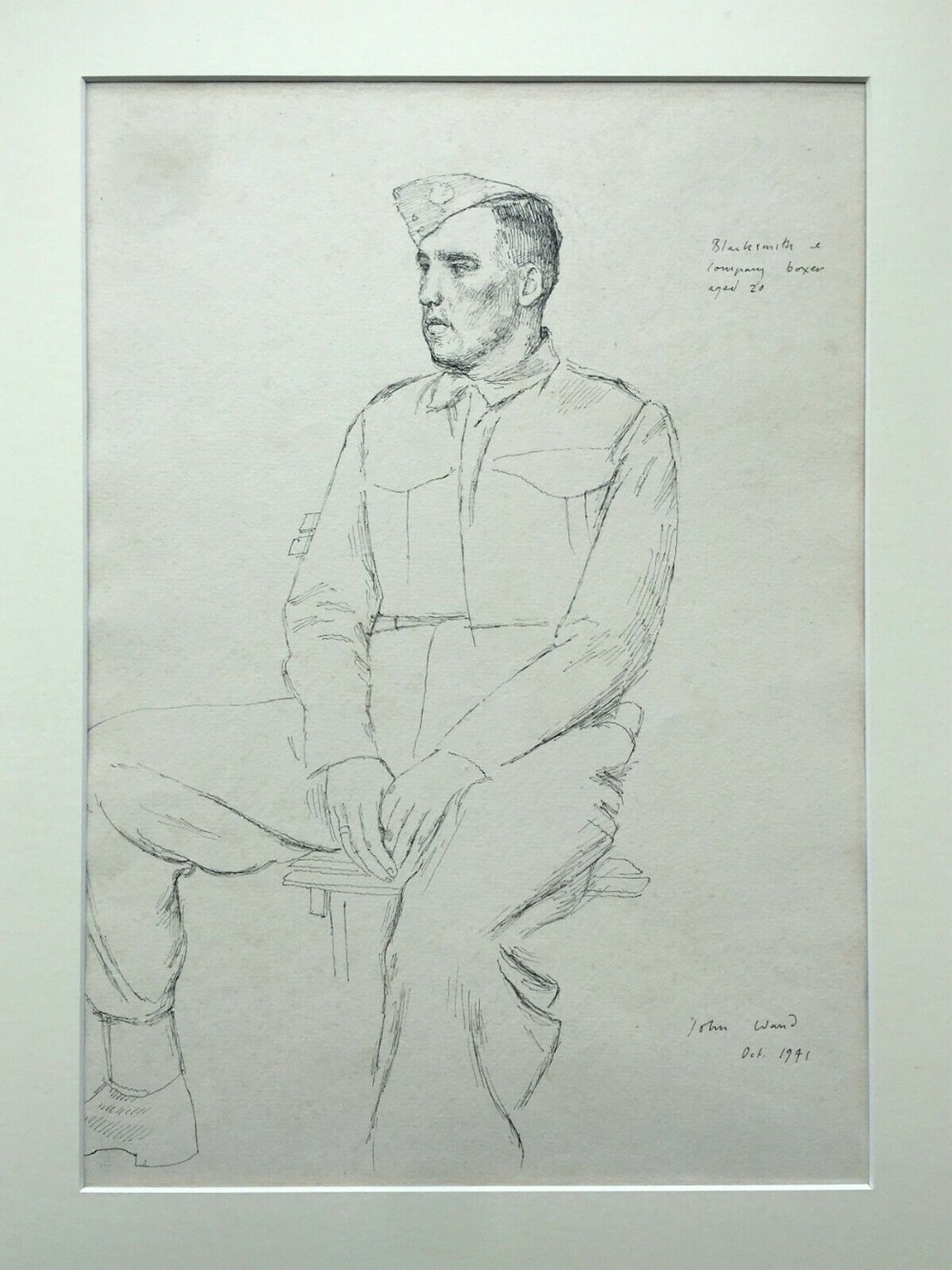 John Stanton Ward Ra Original Signed Ink Sketch Drawing Ww2