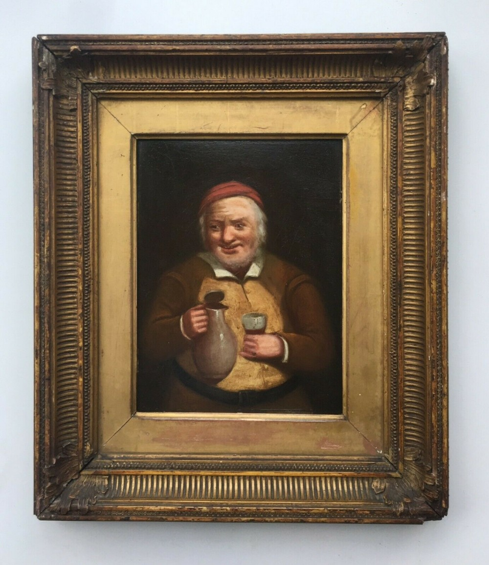 continental style original antique oil painting portrait of man with wine jug