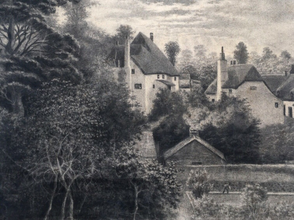 signed sandys antique original charcoal drawing coombe in teignhead devon