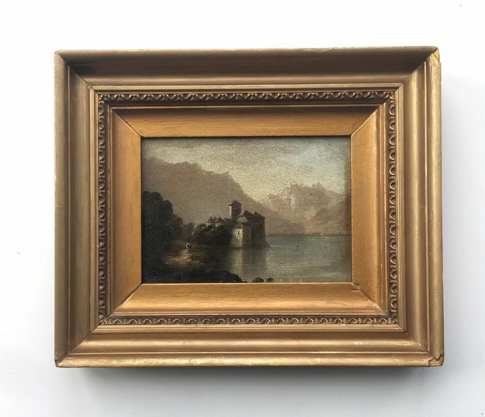 original framed antique oil painting lake geneva and chillon castle landscape