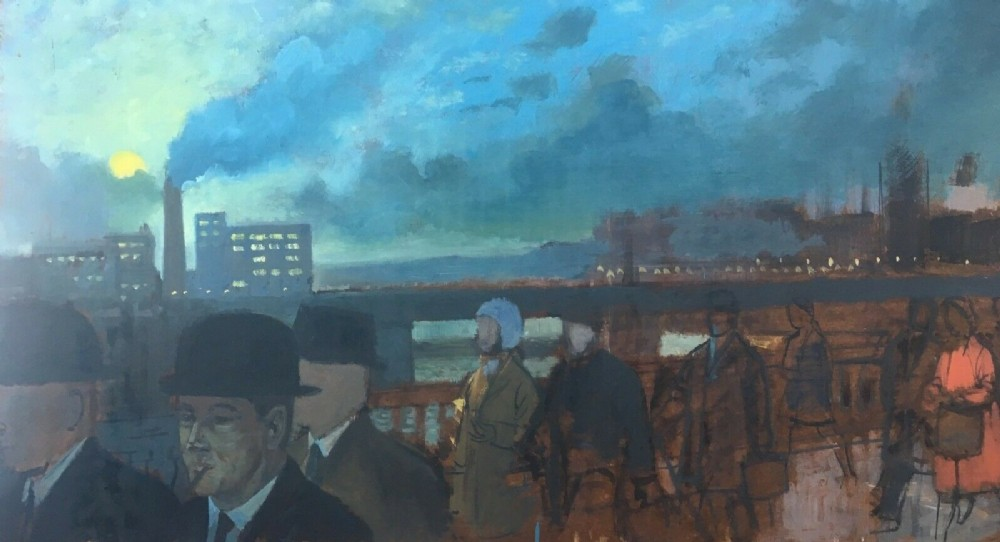 henry james neave british 191171 commute crossing the bridge oil painting on panel