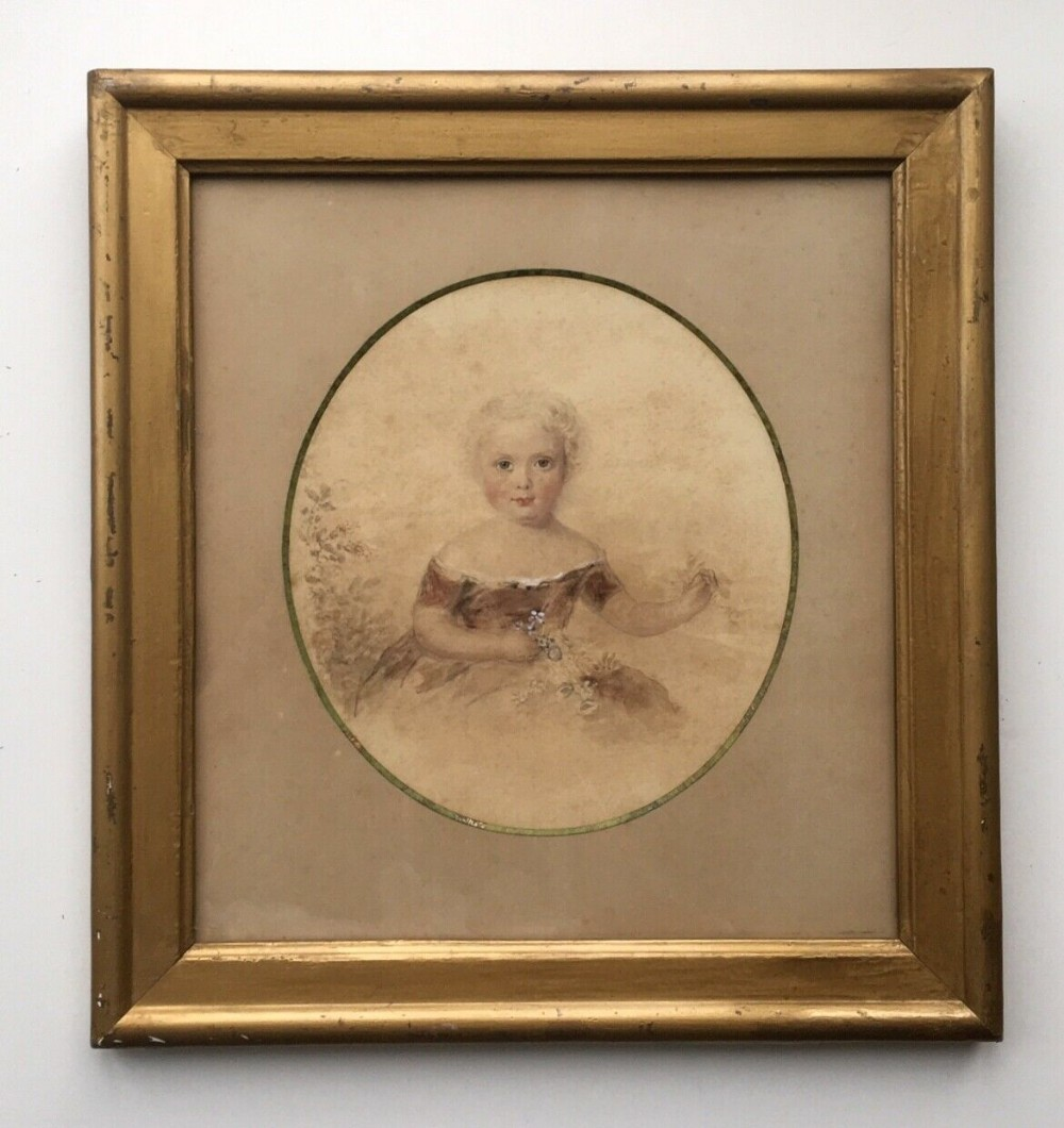 attr james holmes c1850 watercolour painting portrait of henry bawcombe age 3