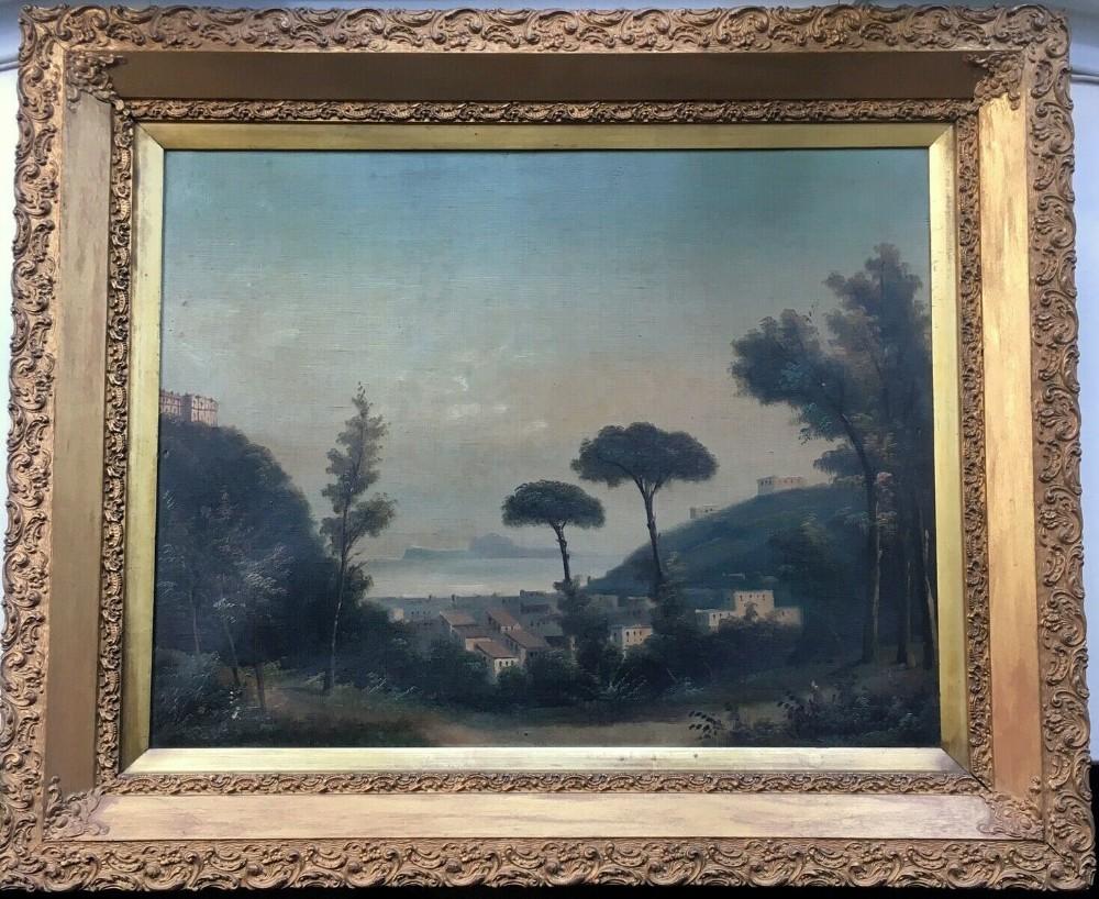 original 19th century antique oil painting canvas gilt framed italian landscape