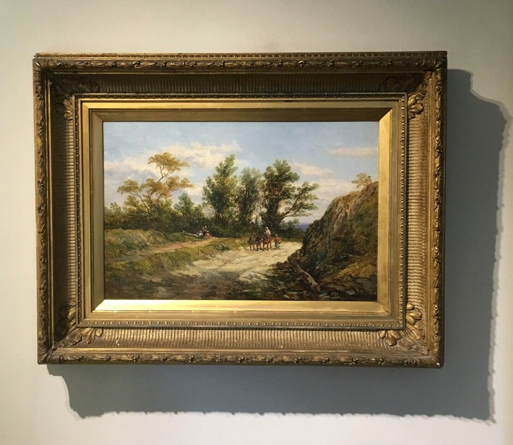 john holland senior signed original antique english oil painting on canvas near fowey cornwall in large decorative frame