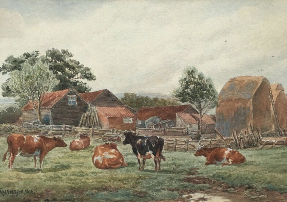 john macpherson 1876 signed 19th century watercolour painting cattle landscape