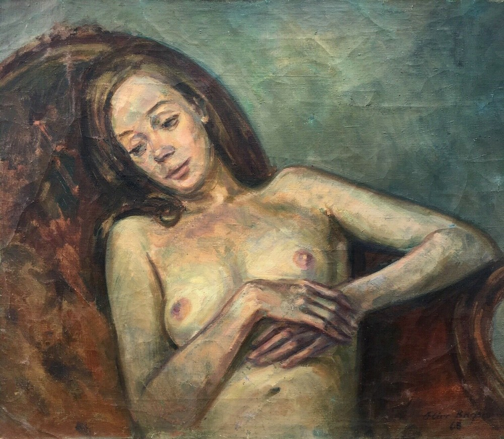olive bagshaw manchester salford art school original oil painting female nude