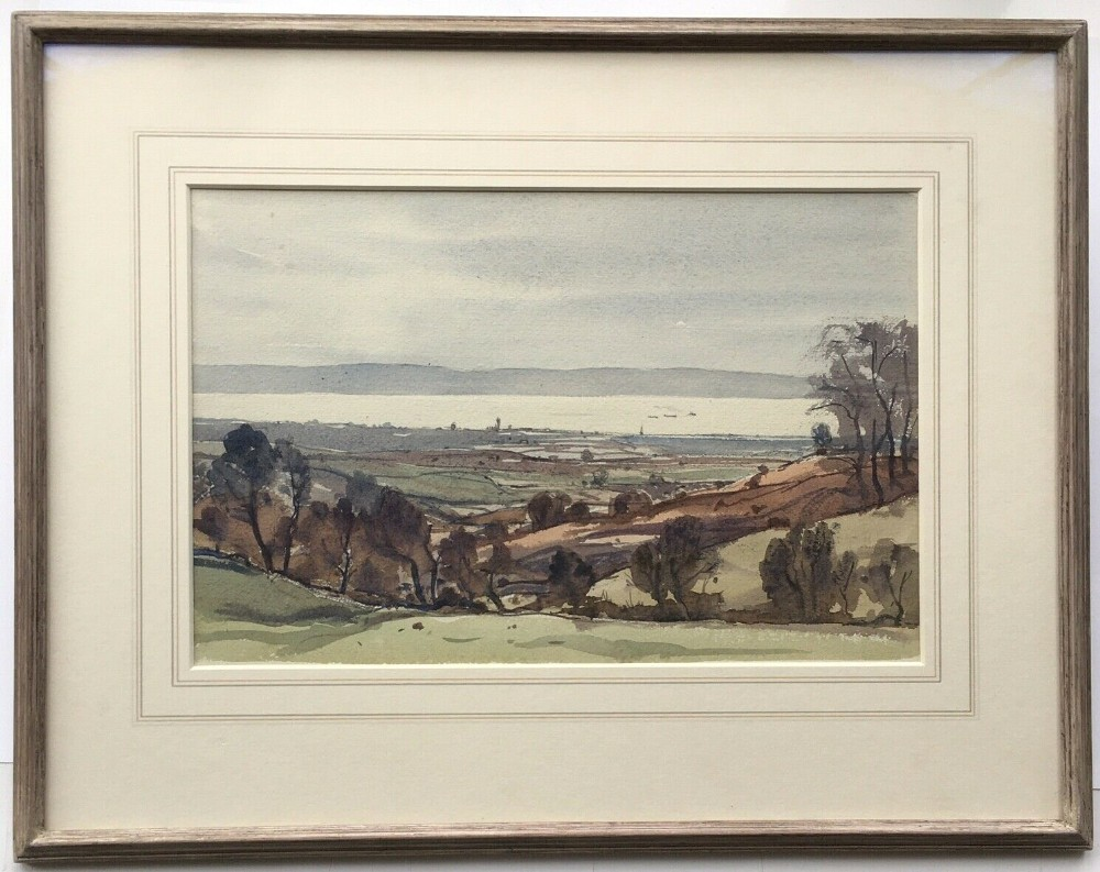 claude muncaster signed original watercolour painting severn from hewelsfield