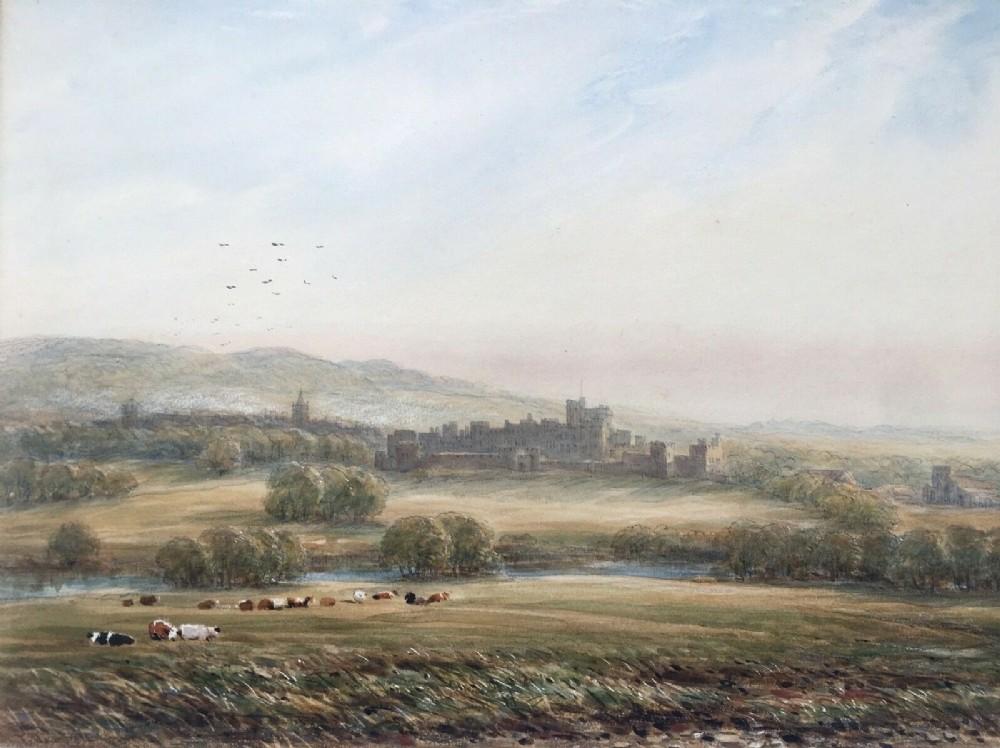 james orrock signed original antique watercolour painting alnwick castle 1895 northumberland landscape