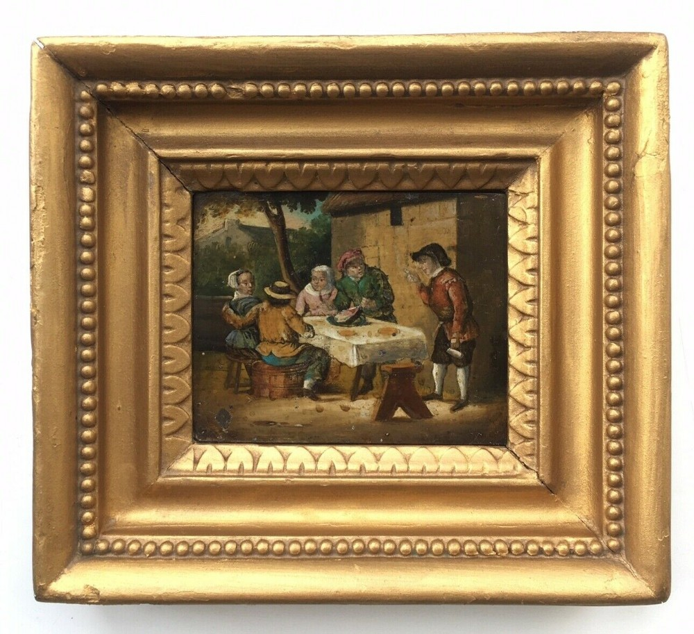 dutch school original antique frame oil painting on tin outdoor tavern scene