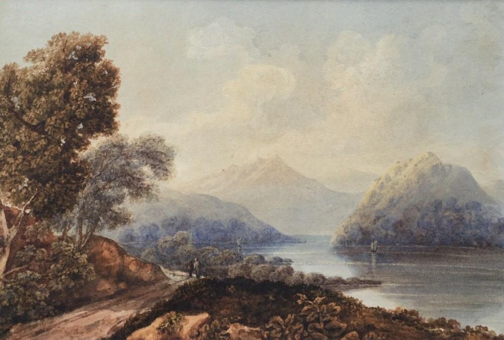 john edwin oldfield lake como lombardy italy original antique watercolour landscape painting