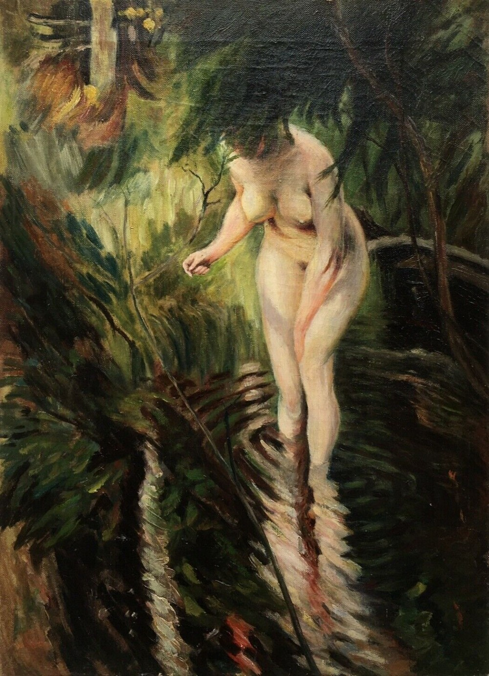 manner of anders zorn original early 20th century antique oil painting on canvas nude bather pond