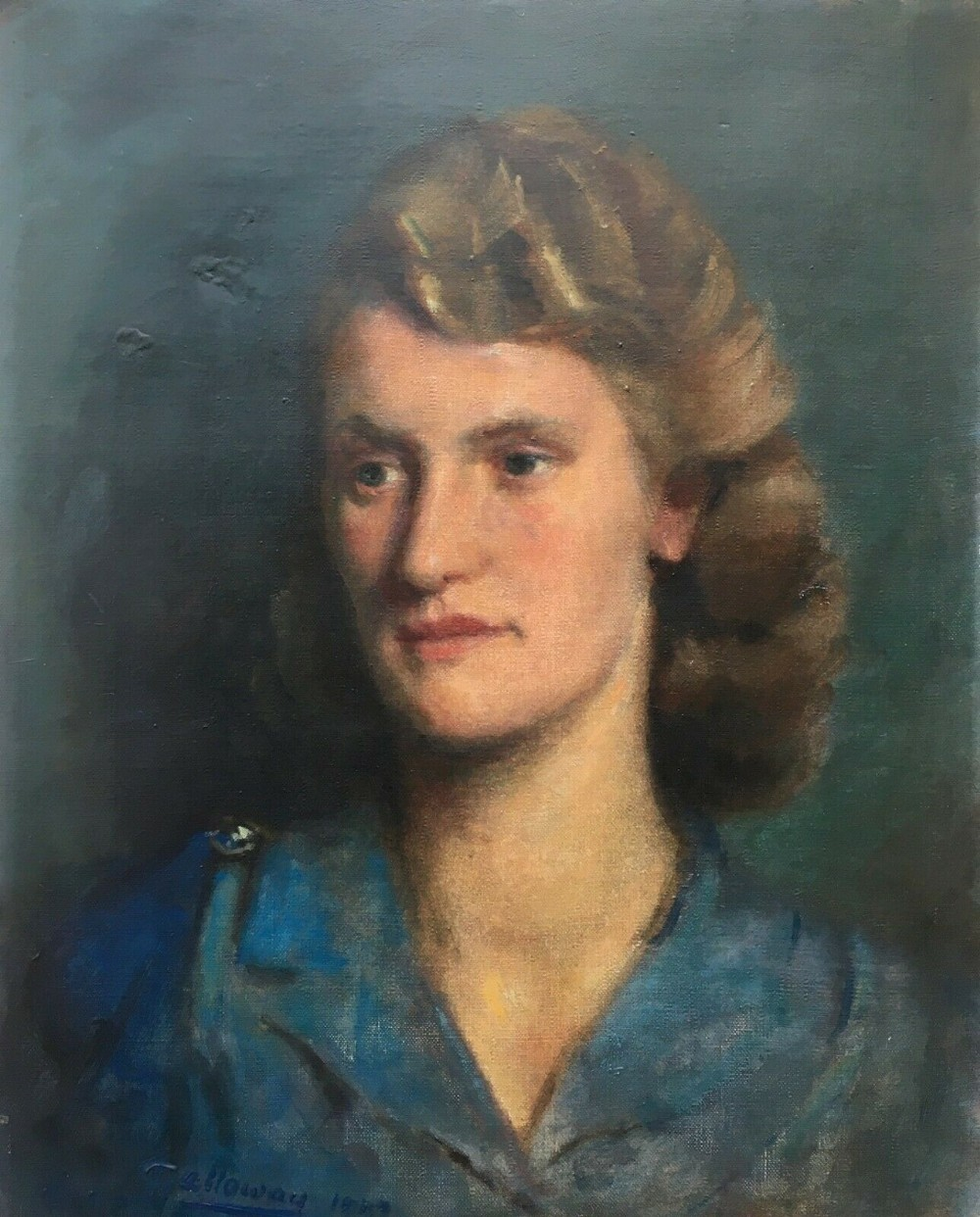 vincent galloway 18941977 signed original ww2 period english framed oil painting on canvas portrait of lady in a blue dress