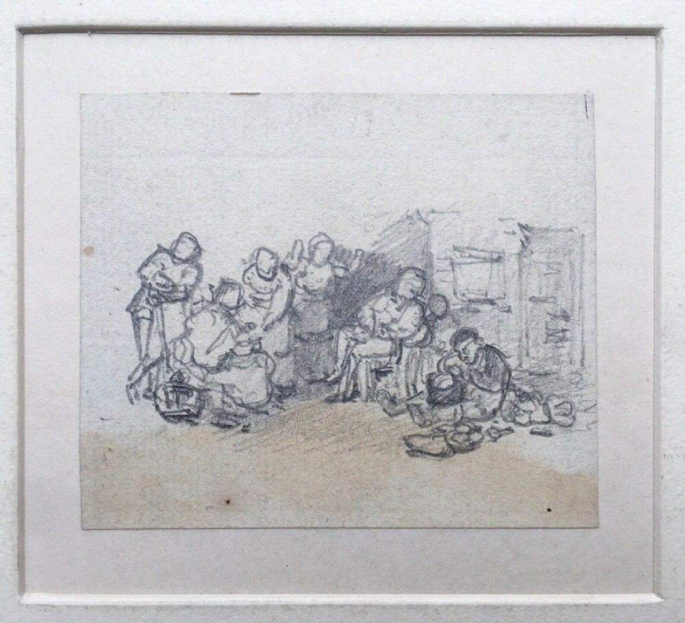 attr david wilkie ra original 19th century antique pencil drawing study figures outside an inn