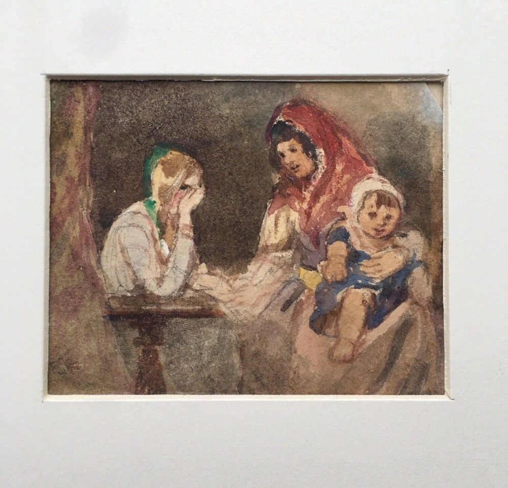 francis william topham ows gypsy fortune teller original 19th century watercolour painting