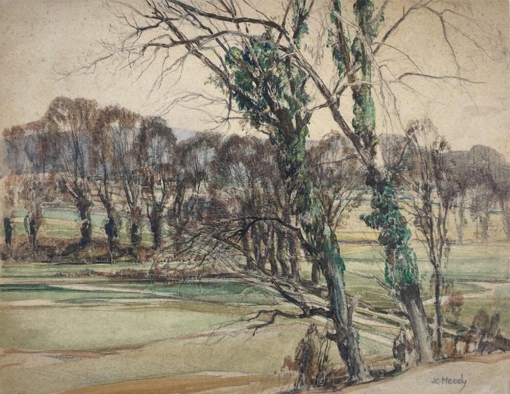 john charles moody signed original vintage english early 20th century watercolour painting tree landscape