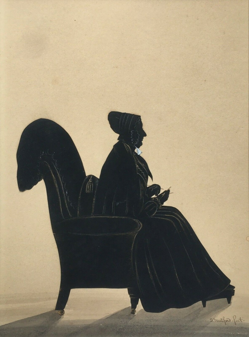 samuel metford of somerset signed original 19th century antique watercolour cut silhouette of a seated lady