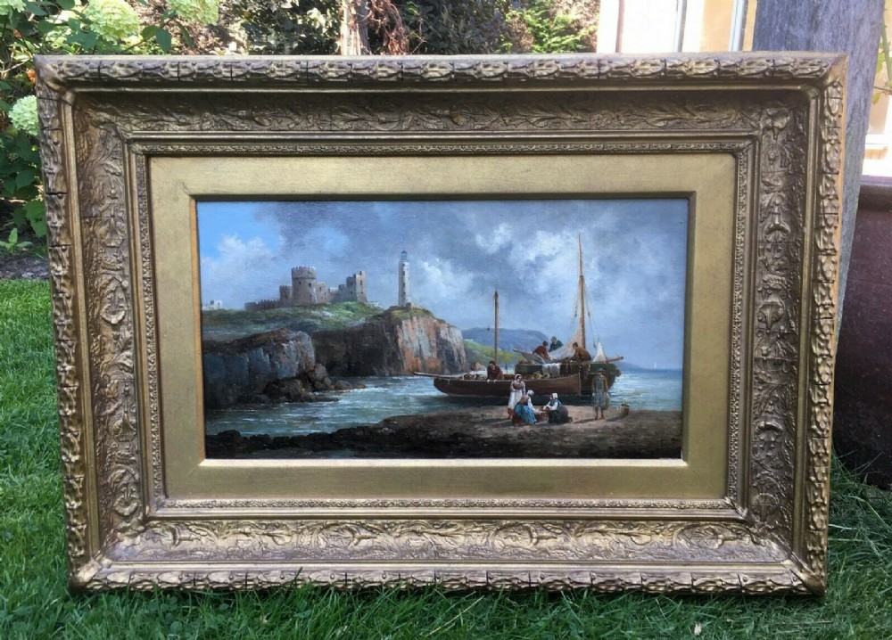 signed anton schoth original 19th century antique oil painting on panel unloading boat on the shore