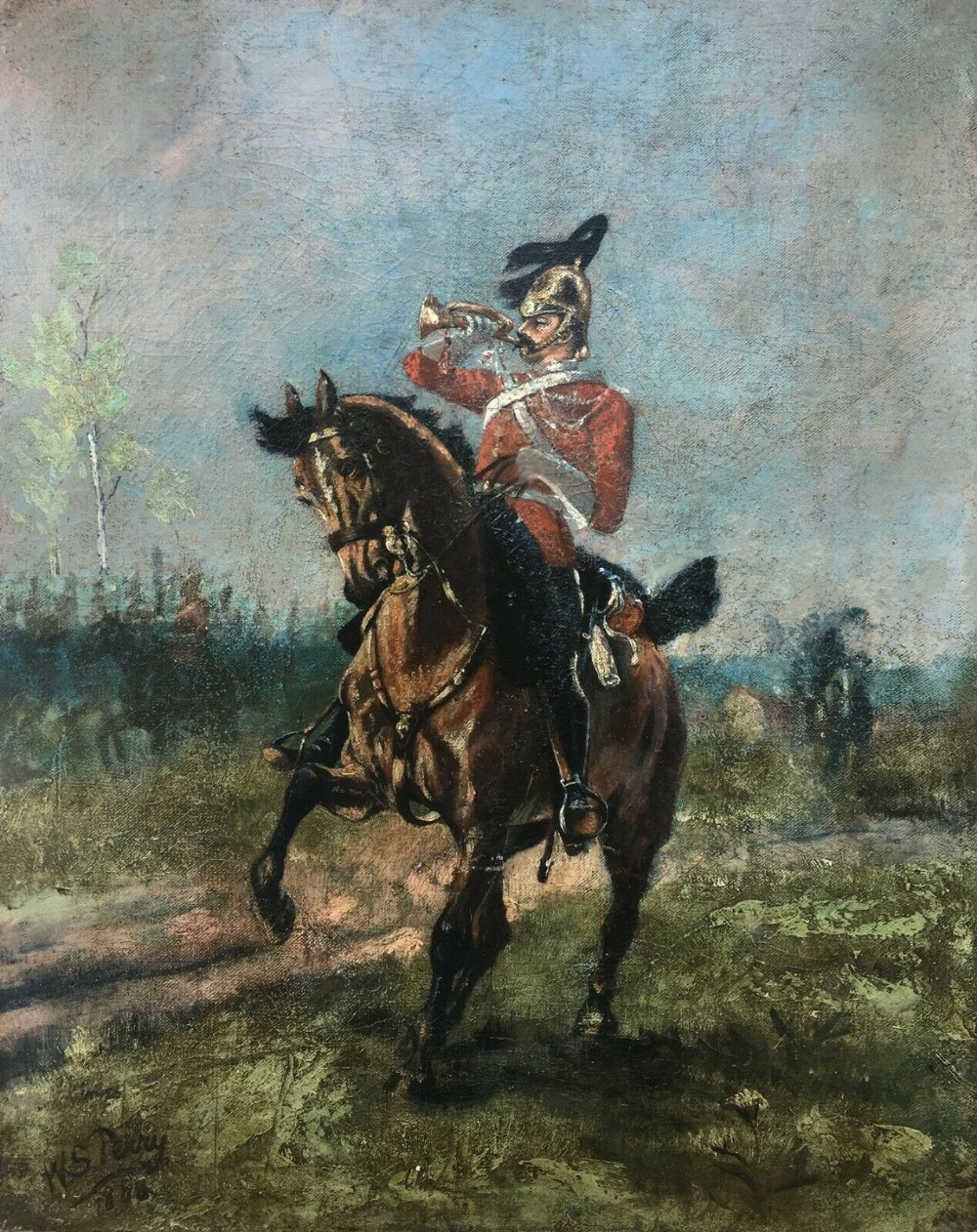 signed original 19th century antique oil painting army bugler hertfordshire yeomanry 1888