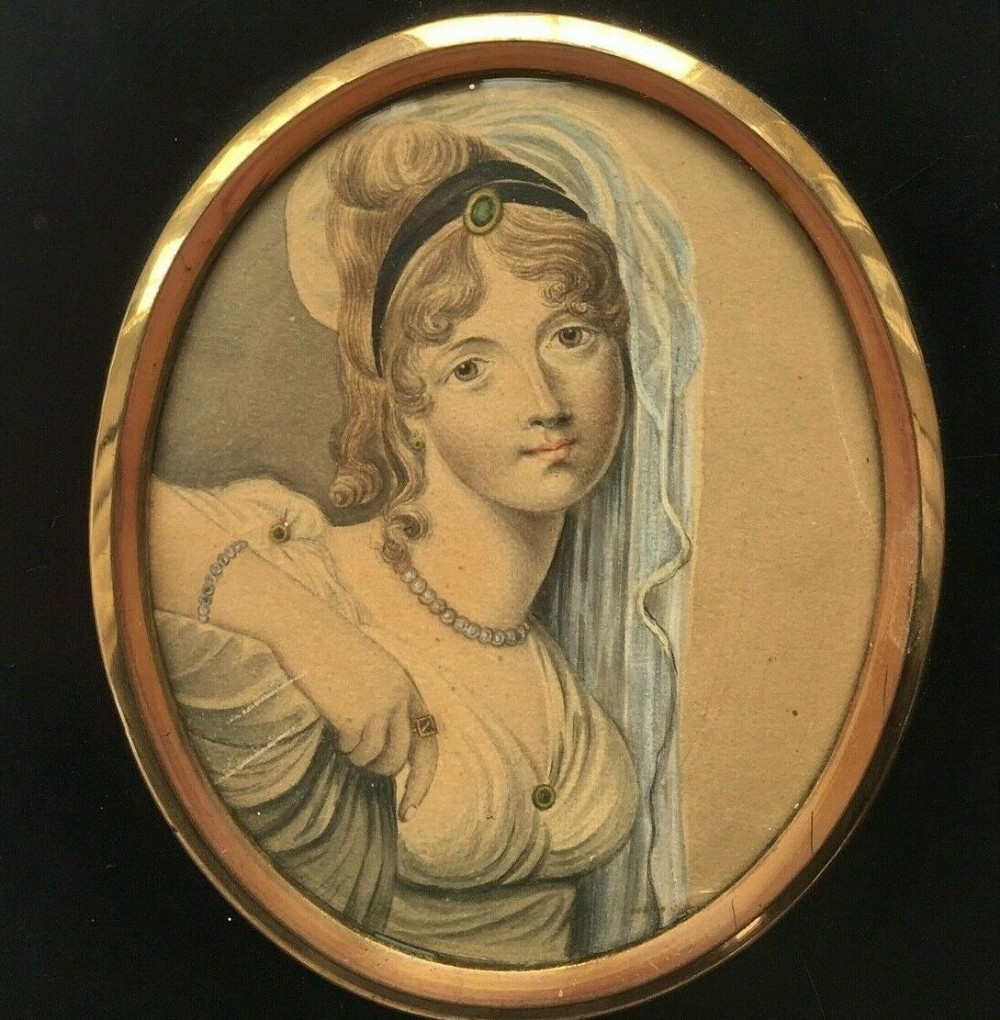 paper mache framed original miniature watercolour painting young lady in classical dress veil