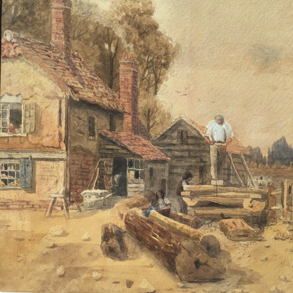 thomas pyne original 19th century english antique watercolour painting loggin village figures working in rural landscape