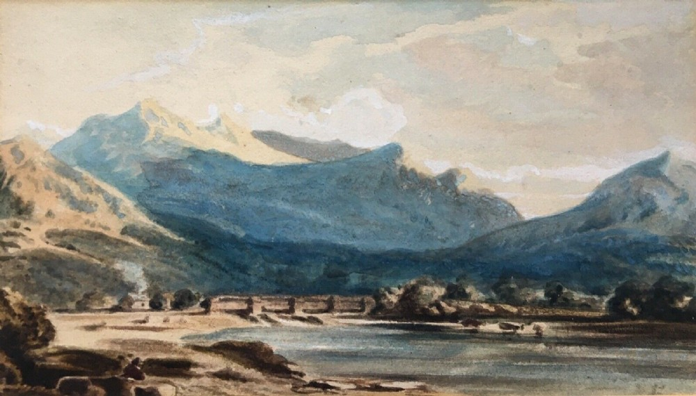 school of john varley original 19th century antique watercolour painting river conway wales