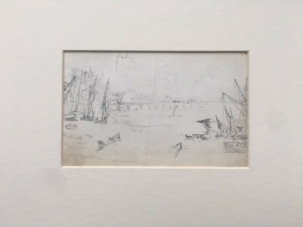 thames at chelsea with battersea bridge original 19th century antique pencil drawing study