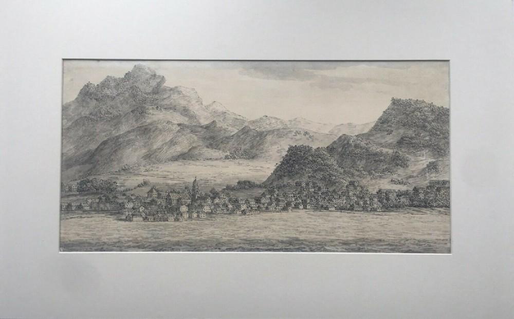 swiss lakeside italian school original early 19th century antique ink wash drawing landscape study