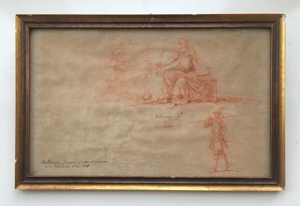 circle of jacques bellange 17th century antique original red chalk sanguine drawing sketch study seated female and soldier guard on watermarked paper