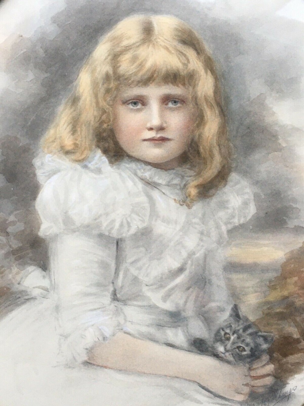 keturah collings signed original 19th century english antique watercolour portrait painting of a young girl helen garstin