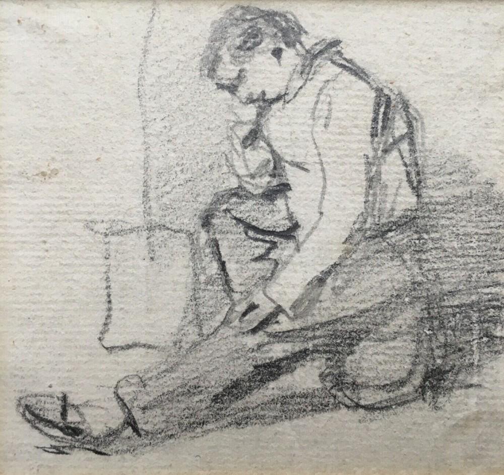 william henry hunt original antique pencil sketch drawing portrait of seated man