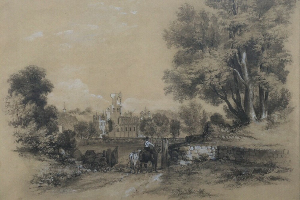 british school c19th original pencil watercolour painting kirkstall abbey leeds