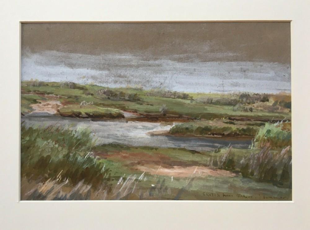 james aumonier ri roi signed original 19th century english antique watercolour painting landscape