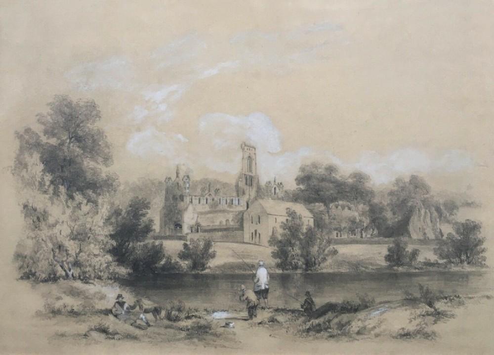 british school original 19th century english antique pencil watercolour painting kirkstall abbey leeds with men fishing yorkshire landscape