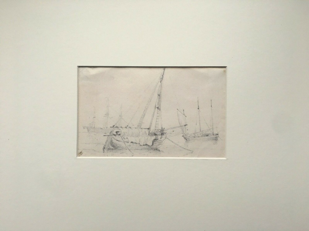 james stark original 19th century drawing of moored shipping vessels seascape