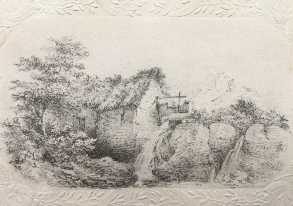 cottage mill view original 19th century antique pencil drawing sketch study on embossed paper