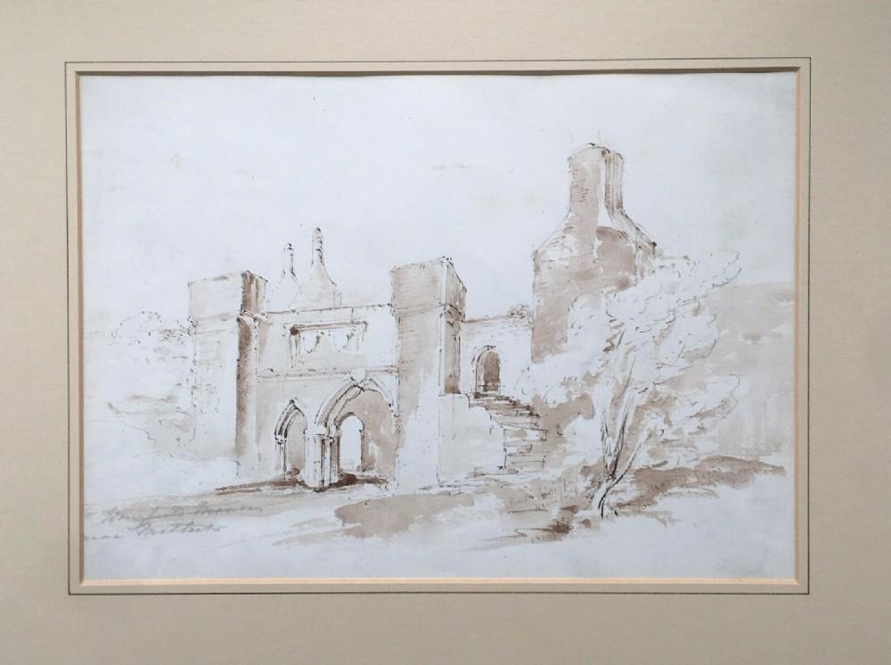 possibly by john piper wingfield manor matlock original 19th century english antique ink watercolour painting