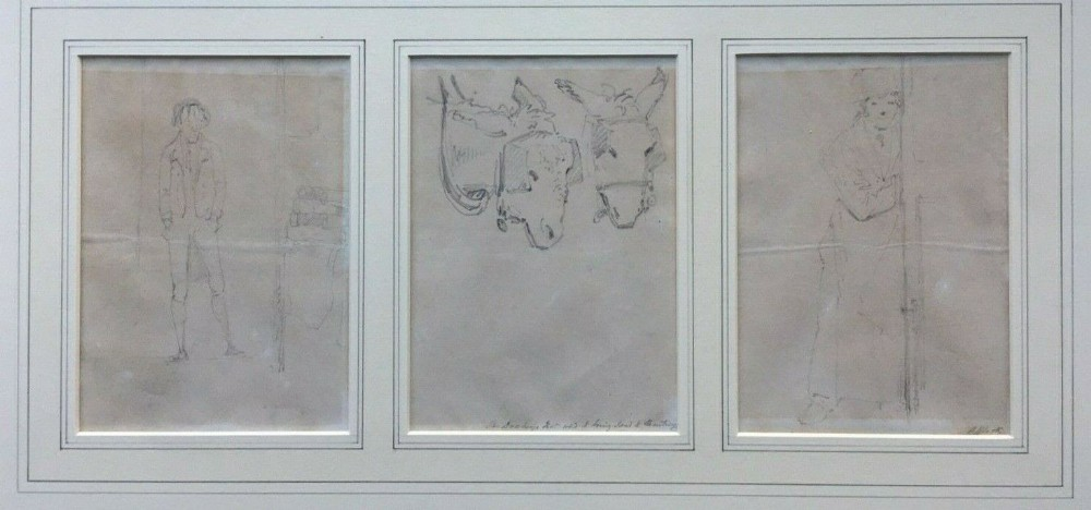 a triptych of original english antique pencil wash drawings of figures donkey studies mounted framed