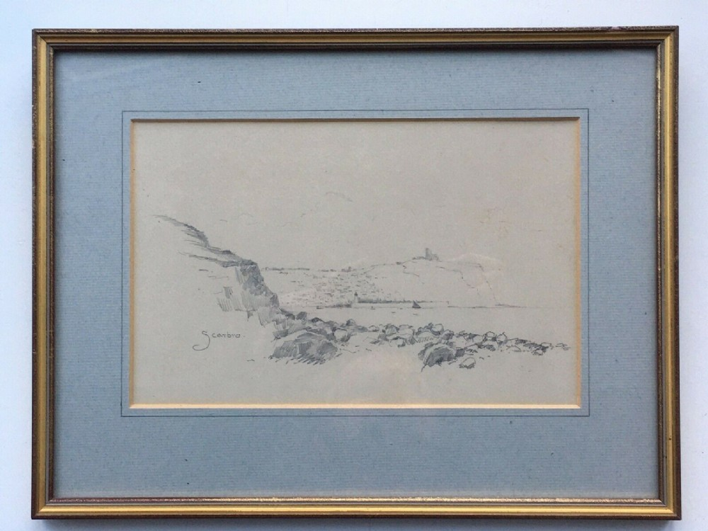 scarborough from south bay original antique pencil drawing sketch study