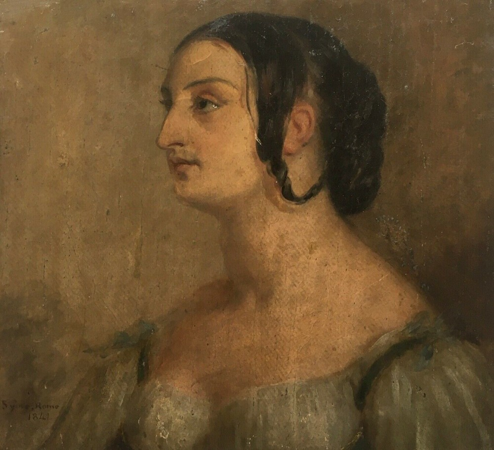 john syme rsa 1841 signed original 19th century antique scottish oil painting on canvas portrait of a young roman lady