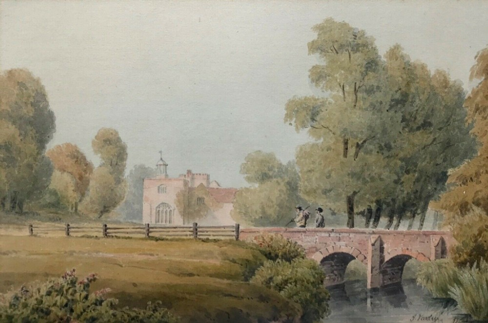 john varley attributed signed original early 19th century antique english watercolour painting forde abbey chard somerset