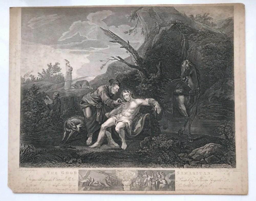 ravenet delatre after hogarth original 1772 antique english engraving the good samaritan