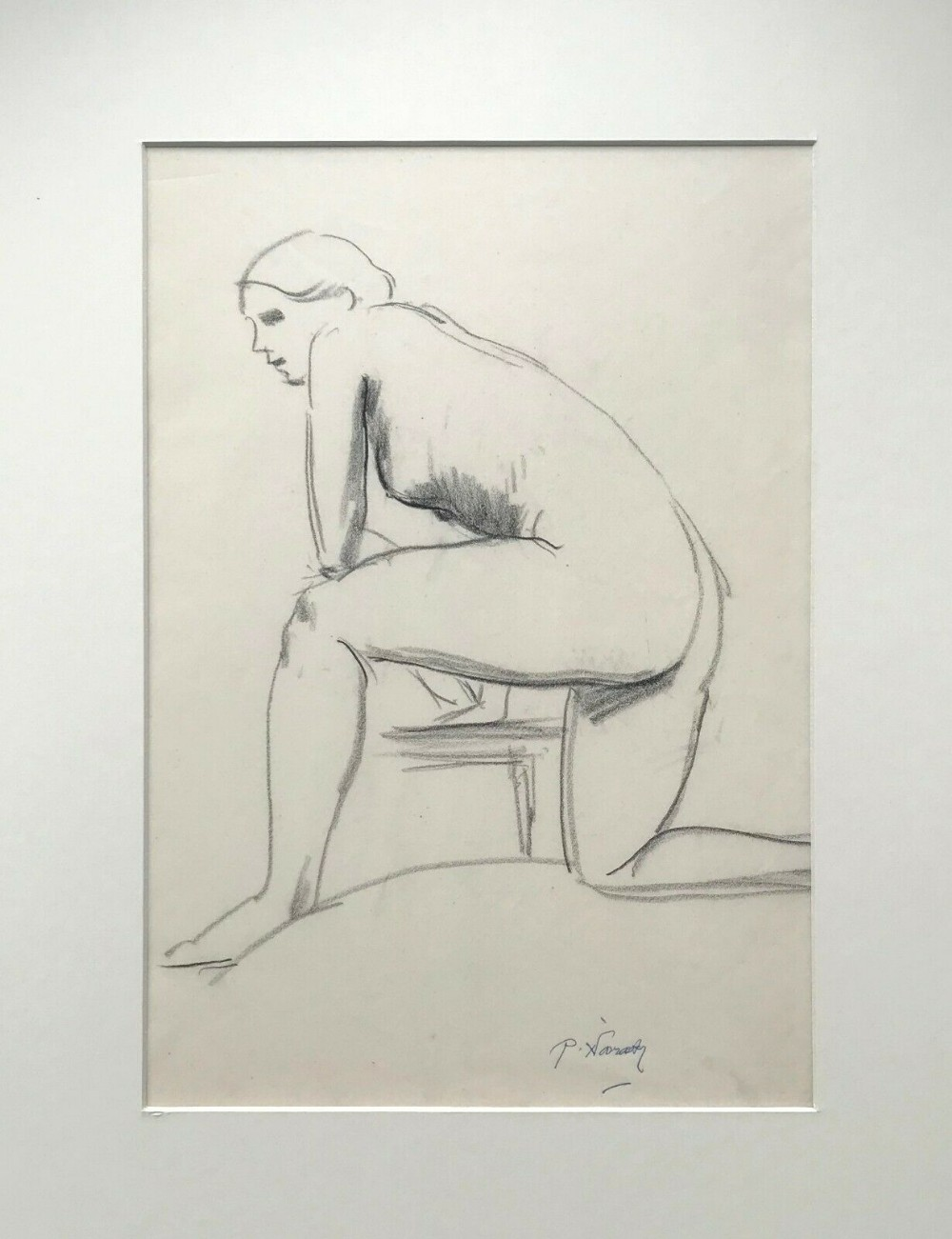 signed p philip naviasky original 20th century pencil drawing life study sketch nude woman