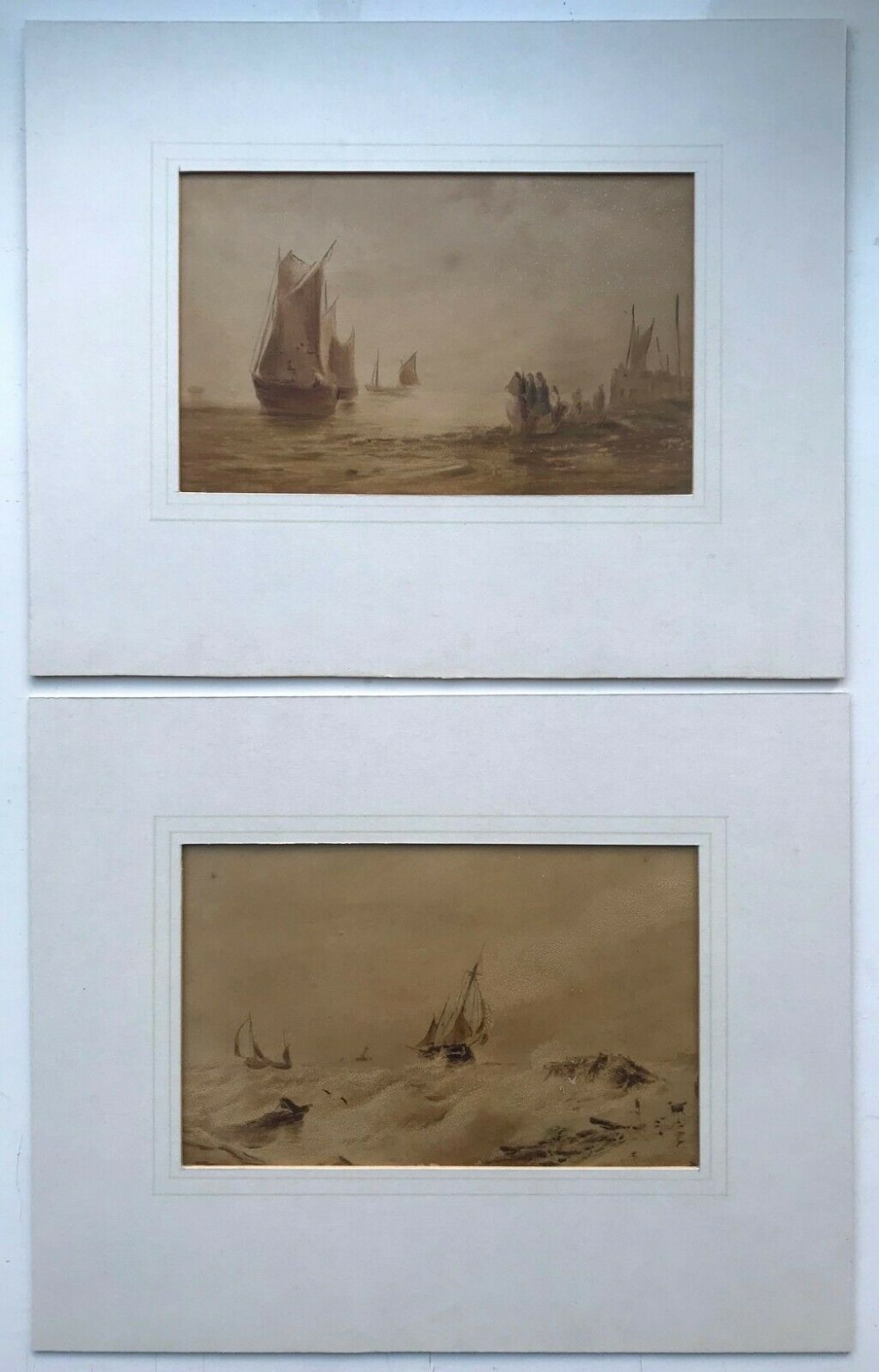 a pair of original 19th century antique watercolour paintings fishing seascapes