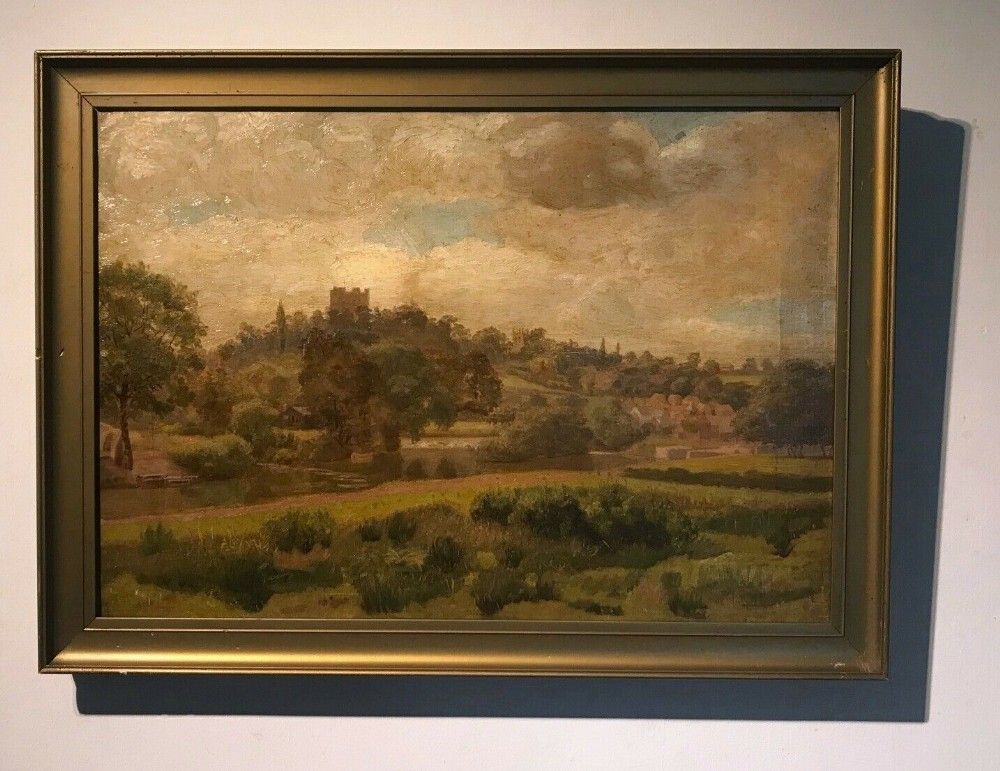 original 19th century english antique oil painting on canvas richmond yorkshire landscape