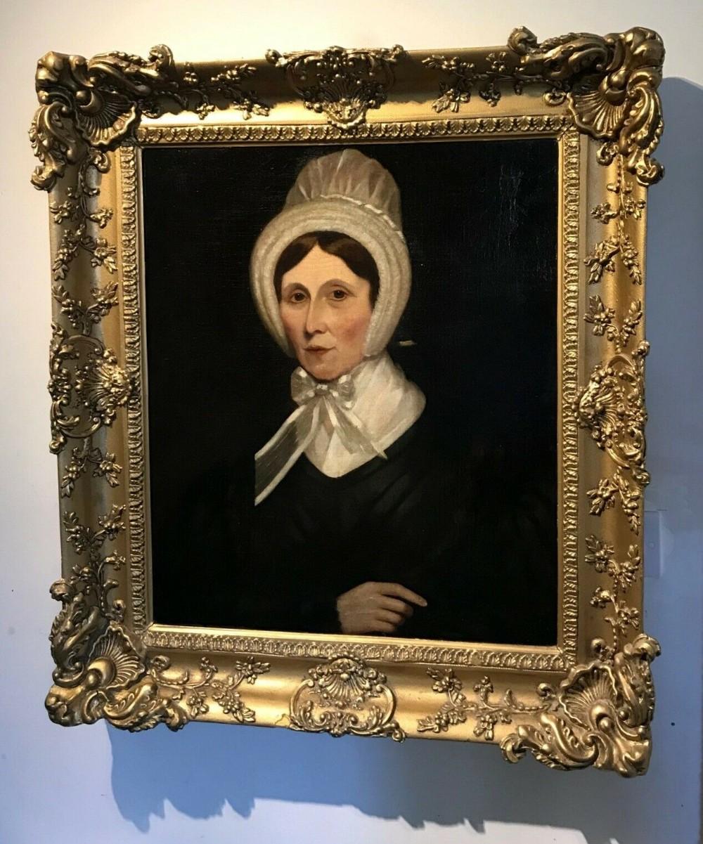 original 19th century antique english school decorative gilt framed oil painting on canvas portrait lady in ribbon tied bonnet